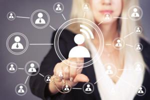 Social network touch button businesswoman signal